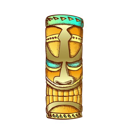 Tiki Idol Hawaiian Wooden Statue Color Vector. Traditional Haaii God Idol. Antique Scary Totem Sculpture Concept Template Designed In Vintage Style Illustration