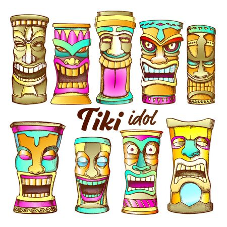 Tiki Idol Collection Totem Vintage Set Vector. Assortment In Different Mood Sculpture Idol. Comical And Scary Ritual Objects Template Hand Drawn In Retro Style Color Illustrations Illustration