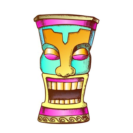 Tiki Idol Carved Wood Funny Totem Vintage Vector. Polynesian Decorative Cheerful Tearful Sculpture Idol. Comical Ritual Object Template Designed In Retro Style Color Illustration