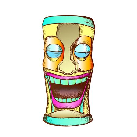 Tiki Idol Carved Wooden Crying Totem Ink Vector. Aztec Ethnicity Mystery Tribal Tearful Sculpture Idol. Sad Ritual Object Template Hand Drawn In Vintage Style Color Illustration