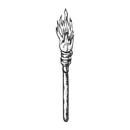 Torch Decorative Wooden Stick With Fire Ink Vector. Aged Flaming Torch, Lighting Equipment. Burn With Tongue Engraving Layout Designed In Vintage Style Black And White Illustration Stock Illustratie