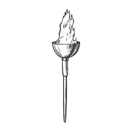 Torch Light Decorative Flame Stick Retro Vector. Ancient Flaming Torch Or Lighting Flambeau. Shine And Burn Torchlight Engraving Mockup Hand Drawn In Vintage Style Black And White Illustration