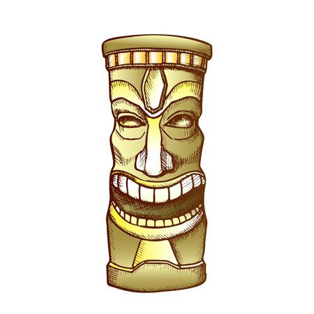 Tiki Idol Carved Wooden Laughing Totem Ink Vector. Mayan Mystery Tribal Indigenous Sculpture Idol God. Ritual Object Template Hand Drawn In Vintage Style Color Illustration