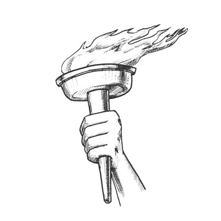 Torch Hand Hold Burning Stick Retro Vector. Torch With Peaceful Fire of Freedom. Symbol Victory in Competitions Engraving Mockup Designed In Vintage Style Monochrome Illustration Çizim