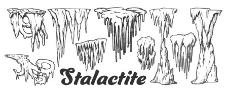 Stalactite And Stalagmite Monochrome Set Vector. Collection In Different Form Cave Stalactite. Mineral Formations Engraving Template Hand Drawn In Vintage Style Black And White Illustrations