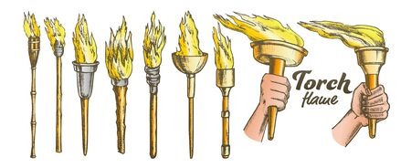 Torch Burning Collection Color Set Vector. Different Material And Size, Medieval And Torch. Burn Fire Engraving Template Hand Drawn In Vintage Style Illustrations