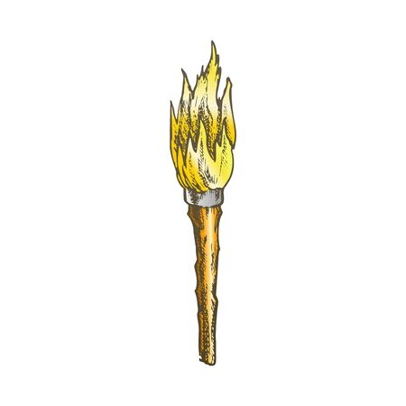 Torch Handmade Old Wooden Burning Stick Color Vector. Torch With Combustible Material, Lighting Night Equipment. Burn With Tongue Engraving Layout Designed In Vintage Style Illustration