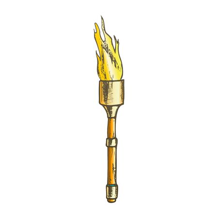 Torch Light Stick With Flame Color Vector. Medieval Burning Torch Or Lighting Flambeau. Shine And Burn Fire Engraving Template Hand Drawn In Vintage Style Illustration