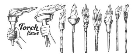 Torch Burning Collection Monochrome Set Vector. Different Material And Size, Medieval And Torch. Burn Fire Engraving Template Hand Drawn In Vintage Style Black And White Illustrations