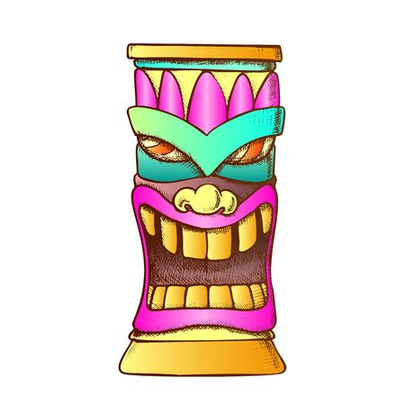 Tiki Idol Carved Wooden Totem Color Vector. Mythological Mystical Indigenous Laughing Sculpture Idol Mask. Old Object Template Hand Drawn In Vintage Style Illustration