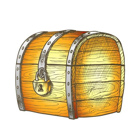 Treasure Chest Protected Metal Lock Color Vector. Ancient Old Armored Locked Wood Chest Packaging. Secured Jewelry Box Engraving Layout Designed In Retro Style Illustration Çizim