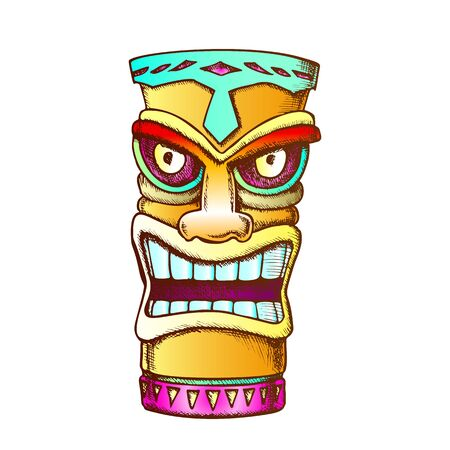 Tiki Idol Carved Wood Statue Color Vector. Cultural Antique Scary Totem Sculpture Angry Face Idol. National Religious Object Template Designed In Vintage Style Illustration Çizim