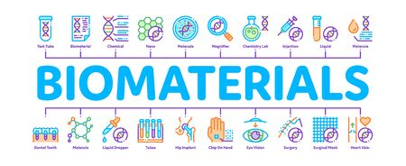 Biomaterials Minimal Infographic Web Banner Vector. Biology And Science Flasks, Bioengineering, Dna And Medicine Vaccine Biomaterials Concept Linear Pictograms. Contour Illustrations Ilustrace