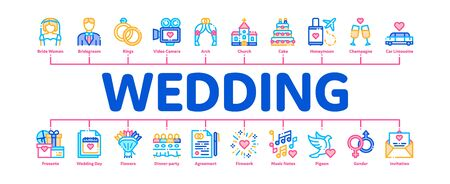 Wedding Minimal Infographic Web Banner Vector. Characters Bride And Groom, Rings And Limousine Wedding Elements Linear Pictograms. Church And Arch, Fireworks And Dancing Contour Illustrations Ilustrace
