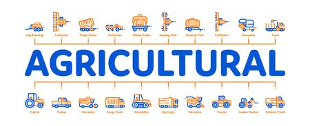 Agricultural Vehicles Minimal Infographic Web Banner Vector. Agricultural Transport, Harvesting Machinery Linear Pictograms. Harvesters, Tractors, Irrigation Machines, Combines Illustration