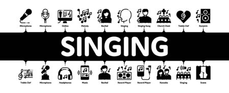 Singing Song Minimal Infographic Web Banner Vector. Singer And Musical Notes, Microphone And Headphones, Concert, Opera And Singing In Karaoke Concept Linear Pictograms. Contour Illustrations Illustration