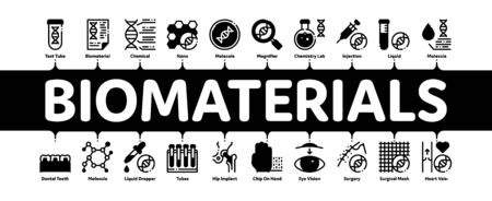 Biomaterials Minimal Infographic Web Banner Vector. Biology And Science Flasks, Bioengineering, Dna And Medicine Vaccine Biomaterials Concept Linear Pictograms. Contour Illustrations 向量圖像