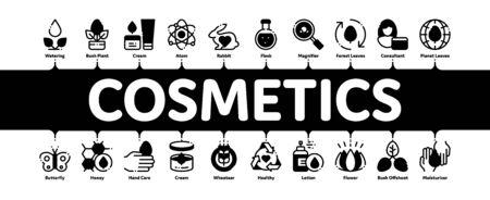 Vecteur de bannière Web d'infographie minimale de cosmétiques biologiques. Cosmétiques biologiques, pictogrammes d'ingrédients naturels. Produit écologique, sans cruauté, analyse moléculaire, illustration de la recherche scientifique Vecteurs