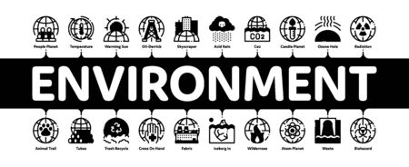 Environmental Problems Minimal Infographic Web Banner Vector. Environmental Problem, Industrial Pollution, Contamination Pictograms. Greenhouse Effect, Global Warming, Climate Change Illustrations