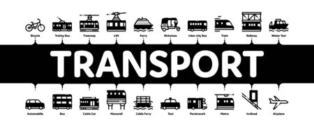 Public Transport Minimal Infographic Web Banner Vector. Trolleybus And Bus, Tramway And Train, Cable Way And Monorail Transport Linear Pictograms. Car And Taxi, Plane And Ship Illustrations Ilustrace