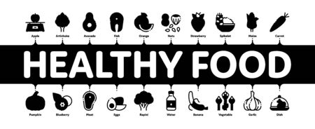 Healthy Food Minimal Infographic Web Banner Vector. Vegetable, Fruit And Meat Healthy Food Linear Pictograms. Strawberry And Orange, Blueberry And Pumpkin, Eggs And Fish Contour Illustrations