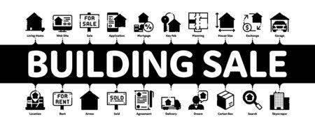 Building House Sale Minimal Infographic Web Banner Vector. Building Sale And Rent Tablet, Web Site, Smartphone Application Linear Pictograms. Garage, Skyscraper, Truck Cargo Contour Illustration Illustration