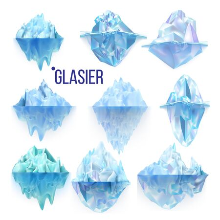 Glacier Frozen Rock And Iceberg Collection Vector. Different Form And Size Frosty Glacier Floating On Water Waves. Broking And Dangerous For World Climate System Realistic 3d Illustrations