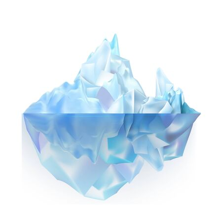 Glacier Icy Rock Floating On Sea Water Vector. Beautiful Glacier Aqua Alasca Climb With Under Sea And Icecap Part. Big Iceberg Broking And Dangerous For World Climate System Realistic 3d Illustration