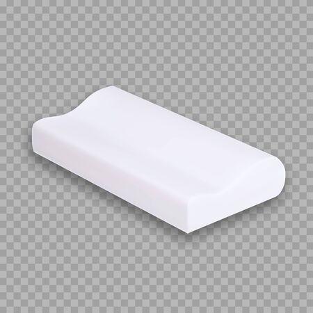 Spezielles Kissen für bequemes Schlafen Vektor-Textfreiraum. Kissen Orthopädische Zusammensetzung mit Memory-Schaum-Kissen. Entspannungs-Zubehör-Innenelement für Schlaf-Layout-realistische 3D-Illustration Vektorgrafik