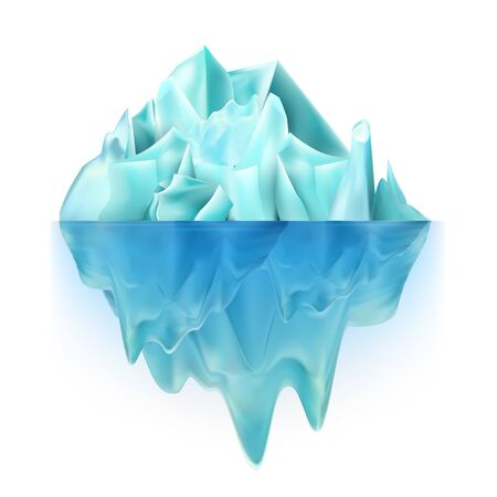 Glacier Icy Rock Floating On Ocean Water Vector. Big Glacier Aqua North-polar Climb With Undersea And Icecap Part. Color Float Majestic Ice Chunk Island. Global Warming Realistic 3d Illustration