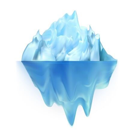 Glacier Icy Rock Floating On Water Waves Vector. Huge Glacier Aquatic Polar Hill With Undersea And Icecap Part. Colorful Float Majestic Ice Glacial Chunk Island. Warming Realistic 3d Illustration