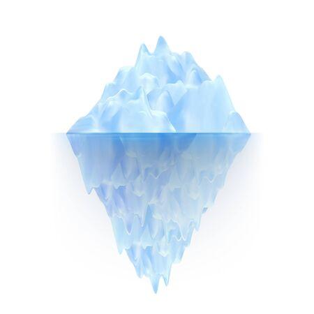 Gletscher-Eis-Felsen, der auf Wasserwellen-Vektor schwimmt. Eisiger Gletscher-arktischer Berg mit Unterwasserteil und Eiskappe. Marine Ice Chunk versteckt Bedrohung, gefährlich und Ökosystem realistische 3D-Darstellung Vektorgrafik