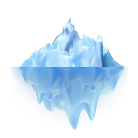 Glacier Floating On Antarctic Water Waves Vector. Cool Glacier Berg With Underwater Part And Icecap. Marine Ice Chunk Hiding Threat, Dangerous And Ecosystem Realistic 3d Illustration