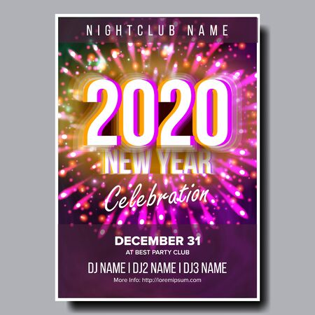 2020 Christmas Party Flyer Poster Vector. Happy New Year. Music Night Club Event. Greeting Dance Event. Design Illustration