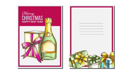 Christmas Greeting Card Vector. Champagne Bottle. Seasons. Holiday Concept. Hand Drawn In Vintage Style Illustration