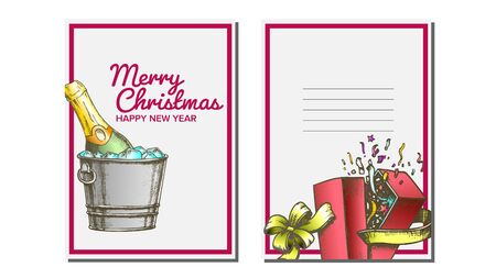 Christmas Greeting Card Vector. Champagne Bottle. Seasons. Winter Wishes. Hand Drawn In Vintage Style Illustration