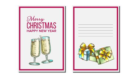 Christmas Greeting Card Vector. Champagne Bottle. Holiday Concept. Hand Drawn In Vintage Style Illustration