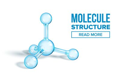 Ammonia Molecule Structure Landing Page Vector. Chemistry Science Molecule For Website or Webpage. Reflective And Refractive Abstract Molecular Shiny Connected Spheres Transparent Illustration