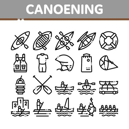 Canoeing Collection Elements Icons Set Vector Thin Line. Canoe Transportation On Car And Canoening Protection Safety Life Equipment Concept Linear Pictograms. Monochrome Contour Illustrations 写真素材 - 131982837