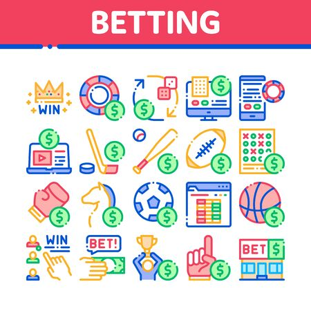 Betting And Gambling Collection Icons Set Vector Thin Line. Basketball And Baseball, Hockey And Boxing, Horse Racing And Card Game Betting Concept Linear Pictograms. Monochrome Contour Illustrations Illusztráció