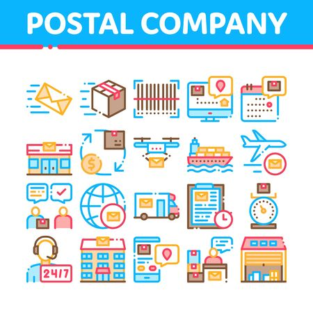 Postal Transportation Company Icons Set Vector Thin Line. Hotline Support And Postal Building, Ship And Airplane, Drone Delivery And Truck Concept Linear Pictograms. Monochrome Contour Illustrations