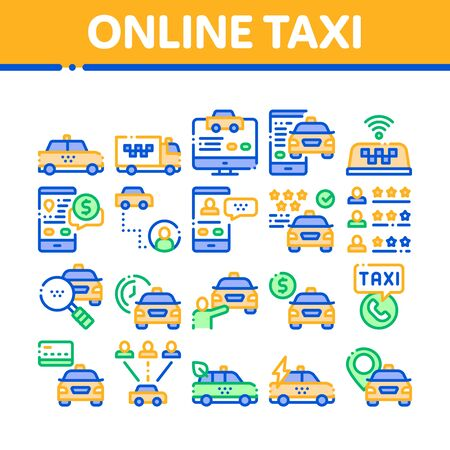 Online Taxi Collection Elements Icons Set Vector Thin Line. Taxi Truck And Car, Mobile Application, Web Site And Human Silhouette Concept Linear Pictograms. Monochrome Contour Illustrations Ilustracja