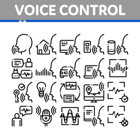 Voice Control Collection Elements Icons Set Vector Thin Line. Voice Controlling Smart House And Car, Laptop And Smartphone Concept Linear Pictograms. Monochrome Contour Illustrations