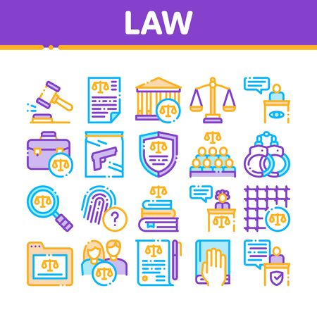 Law And Judgement Collection Icons Set Vector Thin Line. Courthouse And Judge, Gun And Magnifier, Fingerprint And Suitcase, Law Document Concept Linear Pictograms. Monochrome Contour Illustrations