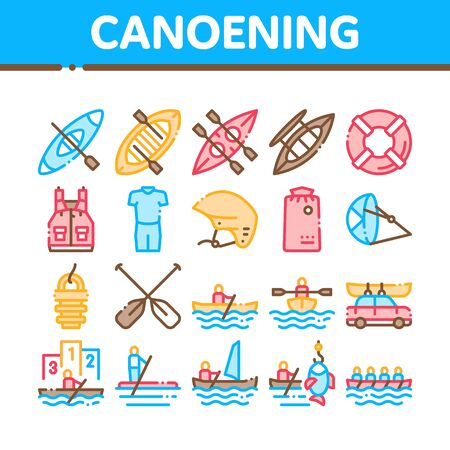 Canoeing Collection Elements Icons Set Vector Thin Line. Canoe Transportation On Car And Canoening Protection Safety Life Equipment Concept Linear Pictograms. Monochrome Contour Illustrations  イラスト・ベクター素材