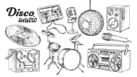 Disco Music Collection Elements Ink Set Vector. Cassette Tape And Vinyl, Drum And Microphone, Loud Speaker And Player Engraving Template Hand Drawn In Vintage Style Black And White Illustrations Çizim