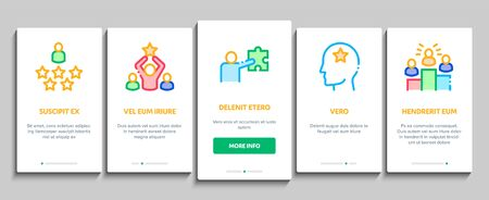 Human Talent Onboarding Mobile App Page Screen Vector Thin Line. Idea And Target, Diamond And Star, Signer, Speaker And Actor Talent Concept Linear Pictograms. Contour Illustrations