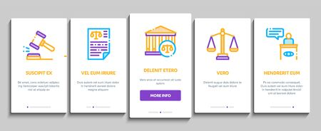 Law And Judgement Onboarding Mobile App Page Screen Vector Thin Line. Courthouse And Judge, Gun And Magnifier, Fingerprint And Suitcase, Law Document Concept Linear Pictograms. Illustrations