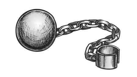 Ball And Chain Prisoner Accessory Retro Vector. Convict Legcuff Linked Ball. Prison Heavy Metallic Equipment Engraving Concept Template Hand Drawn In Vintage Style Color Illustration
