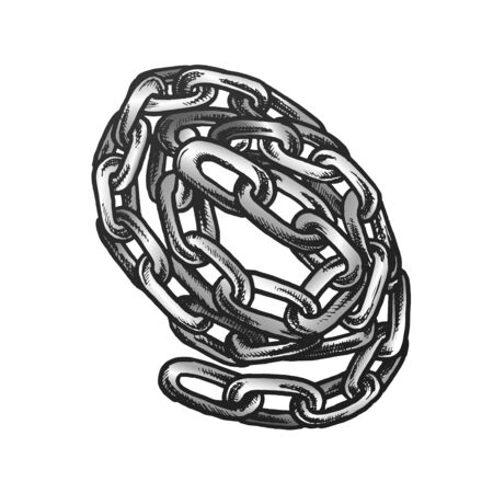 Steel Chain Security Accessory Color Vector. Swirled Classic Chain. Linked Metal Rings Elements Engraving Concept Template Designed In Vintage Style Illustration Archivio Fotografico - 131840666